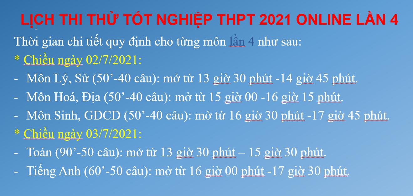 Lịch thi thử tốt nghiệp THPT lần 4 (điều chỉnh), năm học 2020-2021