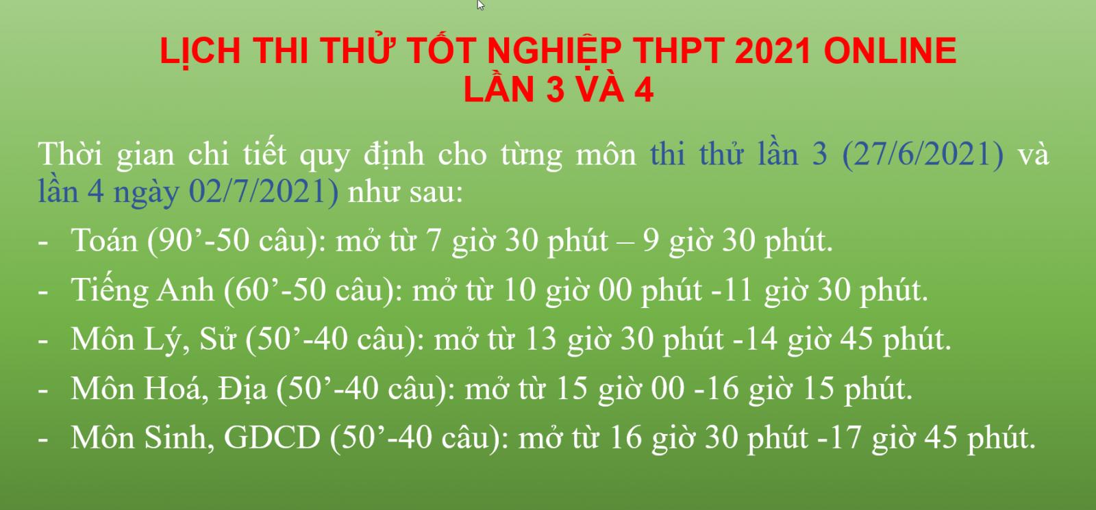 Lịch thi thử tốt nghiệp THPT lần 3 và lần 4, năm học 2020-2021